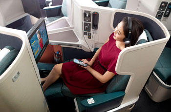 Die neue Business Class von Cathay Pacific in der 777-300