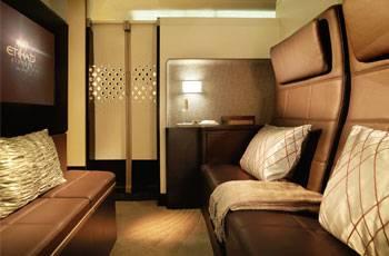 Wohnzimmer der Etihad Residence Suite im Airbus A380
